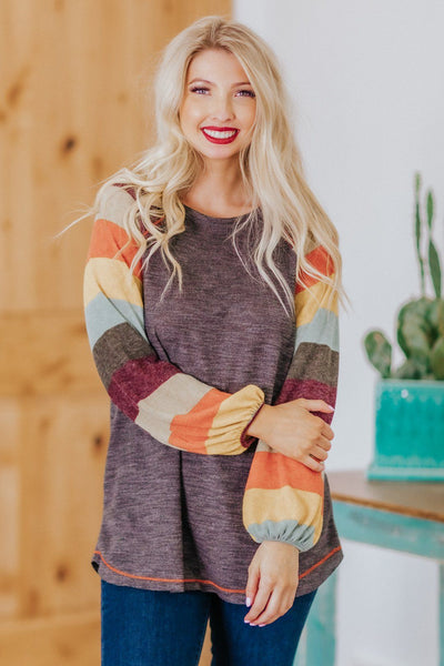 Always Slow Dance Striped Long Sleeve Top in Plum - Filly Flair