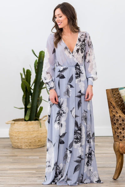 You Are The Reason Long Sleeve Floral Maxi Dress in Light Slate Blue - Filly Flair