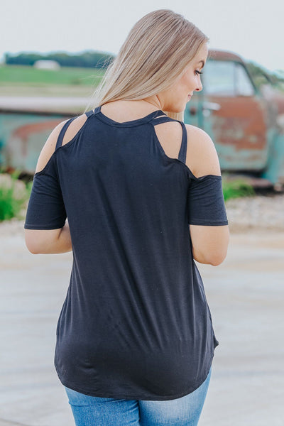 Irreplaceable Criss Cross Cold Shoulder Straps Short Sleeve Top in Black - Filly Flair