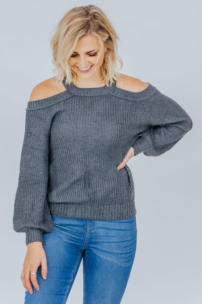 Peaceful Easy Feeling Cold Shoulder Long Sleeve Top in Grey - Filly Flair
