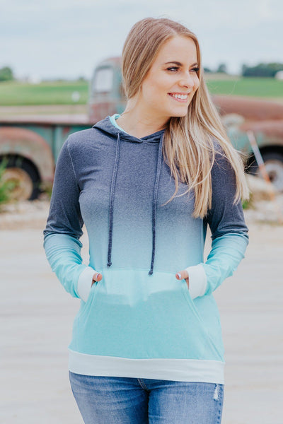 Almost There Pullover In Aqua - Filly Flair