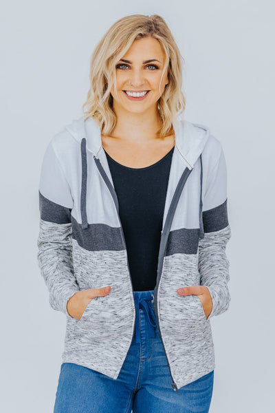 You Are Staying True Color Block Zip Up Hooded Sweatshirt in Grey - Filly Flair