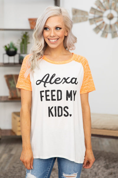 Alexa Feed My Kids Short Sleeve Tee in White Neon Orange - Filly Flair