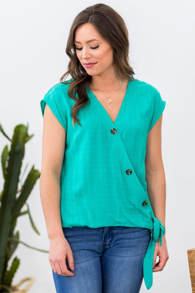 Why Can't We Button Detail Wrap Top in Jade Green - Filly Flair