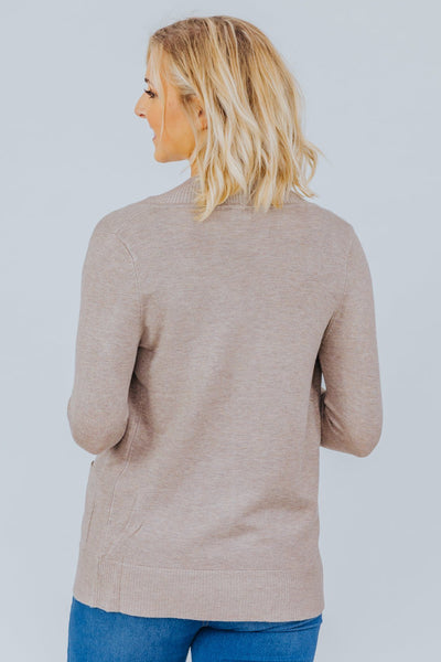 Wildest Dreams Open Short Cardigan With Pockets In Camel - Filly Flair