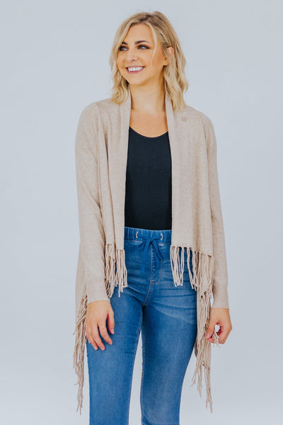 Cottage Getaway Long Sleeve Fringe Cardigan In Oatmeal - Filly Flair