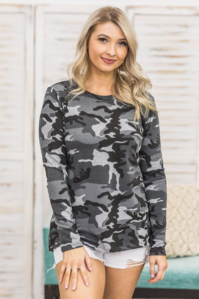 The Only One For Me Camo Print Long Sleeve Top in Grey - Filly Flair