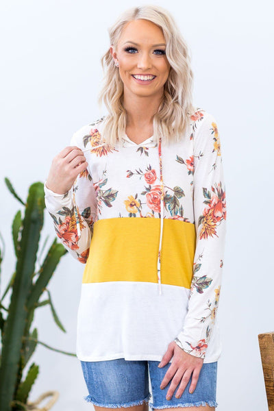 Cute As You Long Sleeve Hooded Color Block Top in Floral Ivory Mustard - Filly Flair