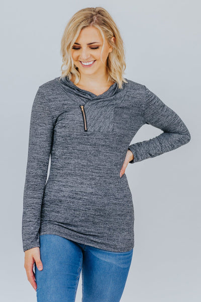 You Make Me Happy Cowl Neck Long Sleeve Pullover Top in Black - Filly Flair