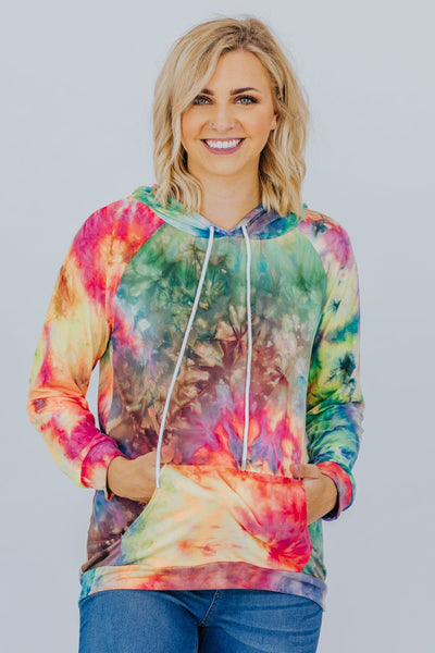 Enjoy The Little Things Tie Dyed Pullover In Green - Filly Flair