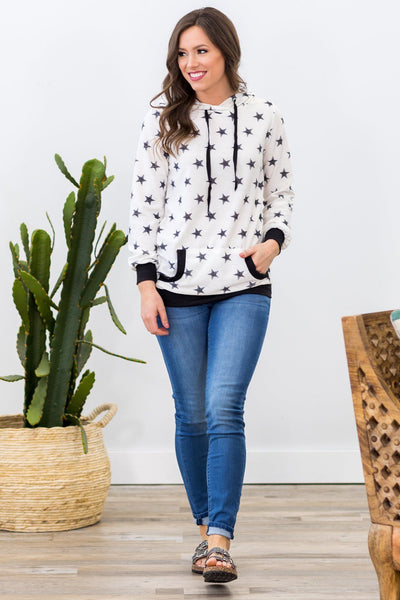 Star of the Show Long Sleeve Distressed Black Star Hoodie in White - Filly Flair