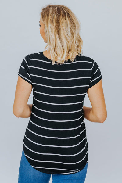 Give Me Everything Striped Top in Black - Filly Flair