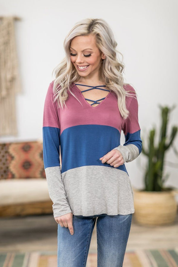What It Is Long Sleeve Color Block Criss Cross Top in Mauve Blue Grey - Filly Flair