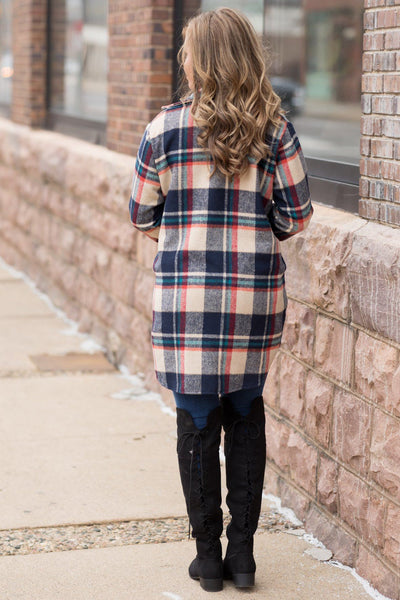 Plaid Flannel Shirt Jacket In Navy - Filly Flair