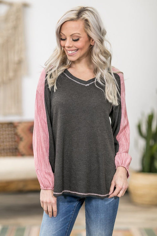 Wake Me Up Long Sleeve Pink Accent Waffle Top in Charcoal - Filly Flair