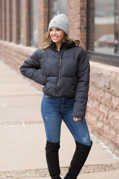 Riding The Slopes Waist Puffy Jacket In Black - Filly Flair