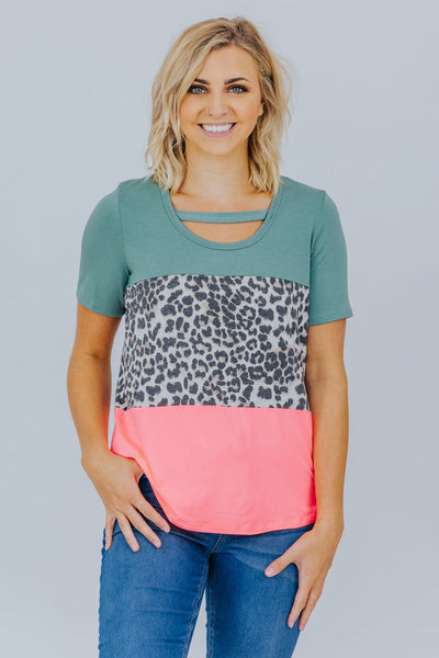 Rain Is A Good Thing Color Block Short Sleeve Top in Pink - Filly Flair