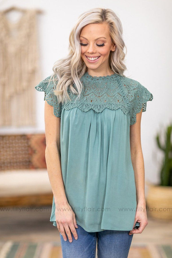 When We First Met Cap Sleeve Crochet Lace Top in Sage - Filly Flair
