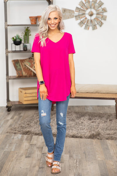 Pulls Me In Short Sleeve V-Neck Basic Top (Two Colors) - Filly Flair