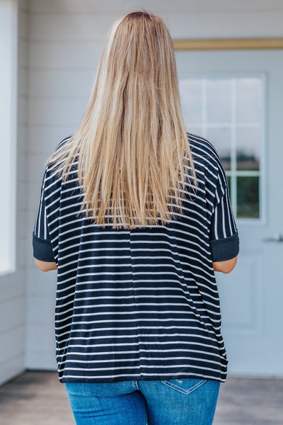 Need A Good One Striped Short Sleeve Top in Black - Filly Flair