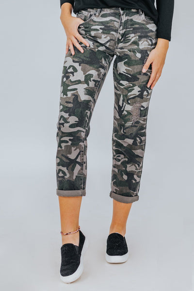 Kaila Kan Can High Rise Straight Fit Camo Print Light Wash Jeans - Filly Flair