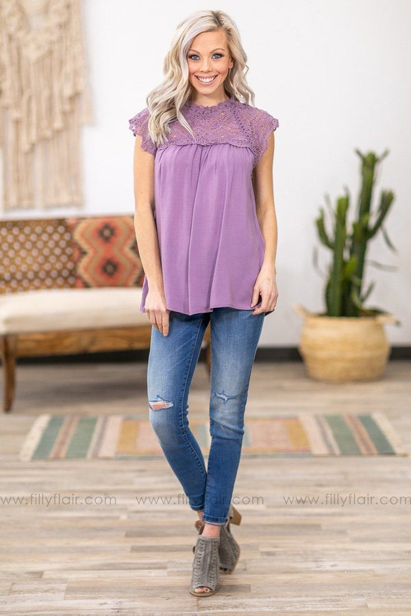 When We First Met Cap Sleeve Crochet Lace Top in  Lavender - Filly Flair