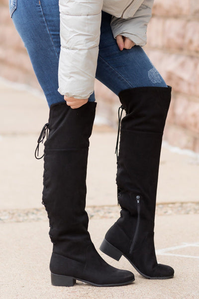 Making Things Happen Suede Lace Up Tall Boots in Black - Filly Flair