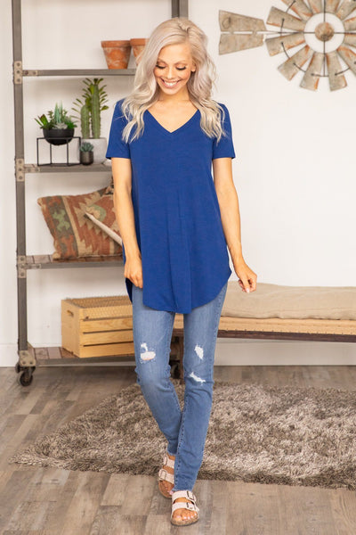 Pulls Me In Short Sleeve V-Neck Basic Top Blue - Filly Flair