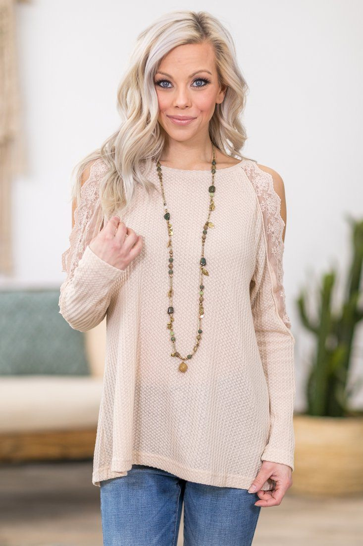 Life So Sweet Long Sleeve Lace Cold Shoulder Waffle Top in Cream - Filly Flair