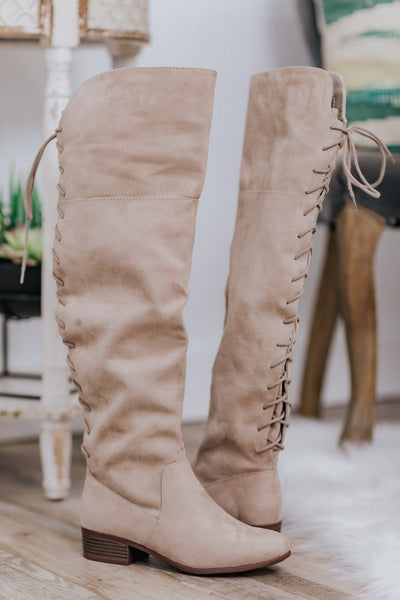 Making Things Happen Suede Lace Up Tall Boots in Beige - Filly Flair