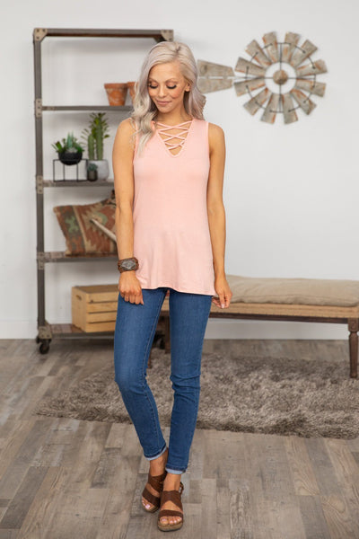 Quit Loving You Criss Cross V-Neck Tank Top Blush - Filly Flair