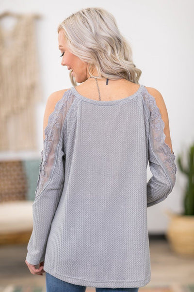 Life So Sweet Long Sleeve Lace Cold Shoulder Waffle Top in Grey - Filly Flair