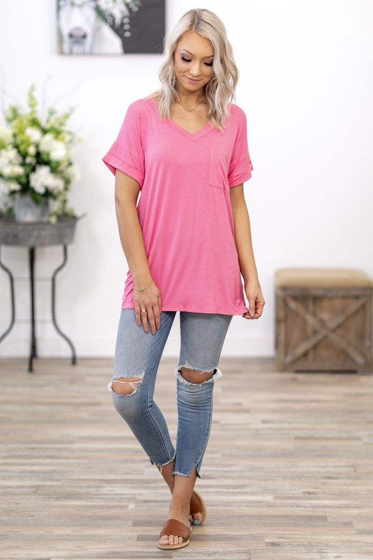 That's the Way V Neck Short Sleeve Chest Pocket Top in Pink - Filly Flair