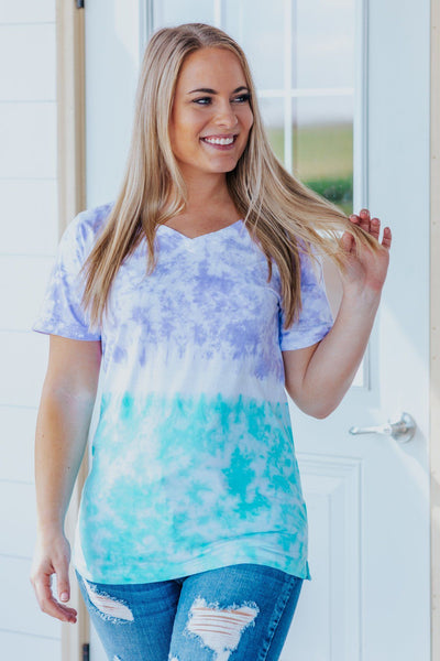Cloud Nine Tie Dye V Neck Top in Violet/Aqua - Filly Flair