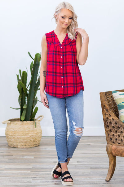 Old Favorite Place Sleeveless Lace Detail Plaid Button Up Top - Filly Flair