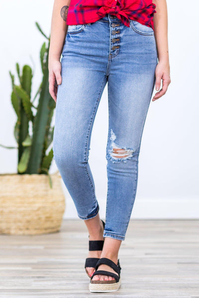 Nancy Nature Medium Wash High Rise Five Button Jeans - Filly Flair