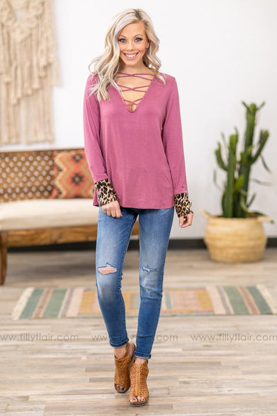 She's Out There Long Sleeve Leopard Cuff Criss Cross Top in Mauve - Filly Flair