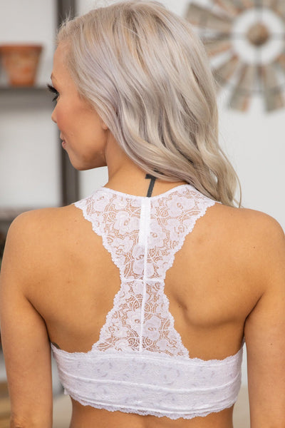 She's Beautiful Racerback Lace Bralette in White - Filly Flair
