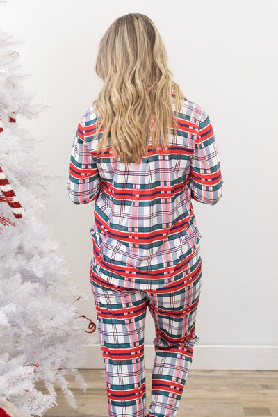 They Really Left Me Plaid Pajama Set - Filly Flair
