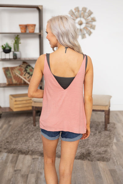 #ST# Every Touch Deep V-Neck Tank Top in Mauve - Filly Flair