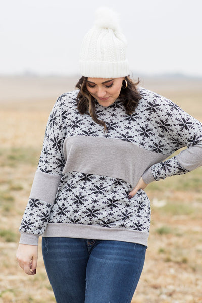 Let It Snow Color Block Long Sleeve Top in Grey - Filly Flair