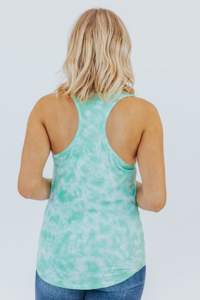 Same Old Love Tie Dye Racerback Tank in Seafoam - Filly Flair