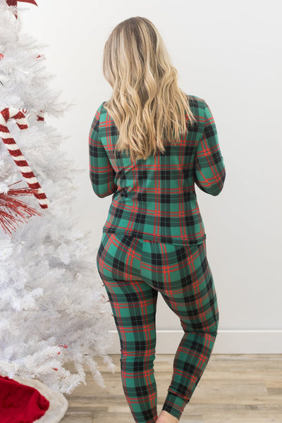 Sleep All Day Fleece Lined Pajama Set in Green - Filly Flair