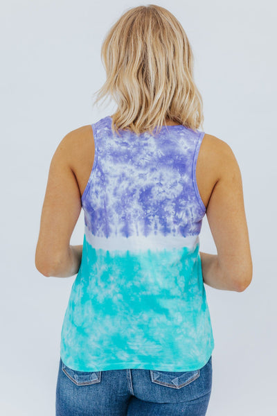 I'm Going Under Tie Dye Tank Top in Violet/Aqua - Filly Flair