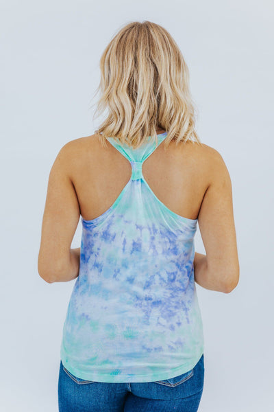Stand Back Tie Dye Racer Back Tank in Lavender/Mint/Aqua - Filly Flair