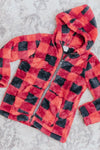 KIDS: Change The World Plaid Front Pockets Zip Up Long Sleeve Hoodie in Red - Filly Flair