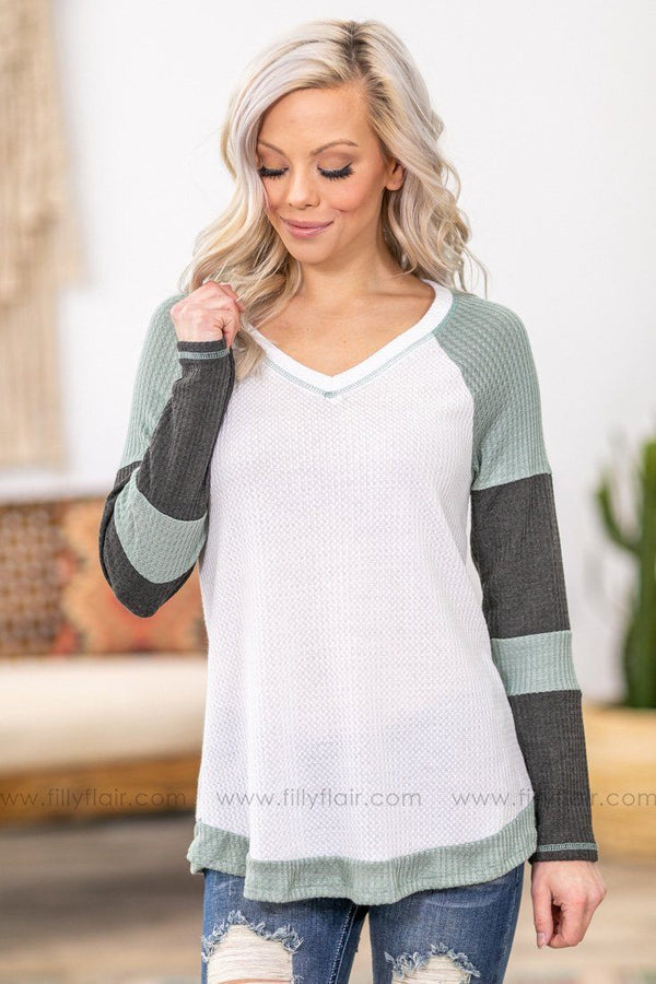 Take Charge Sage Charcoal Color Block Long Sleeve Waffle Top in White - Filly Flair