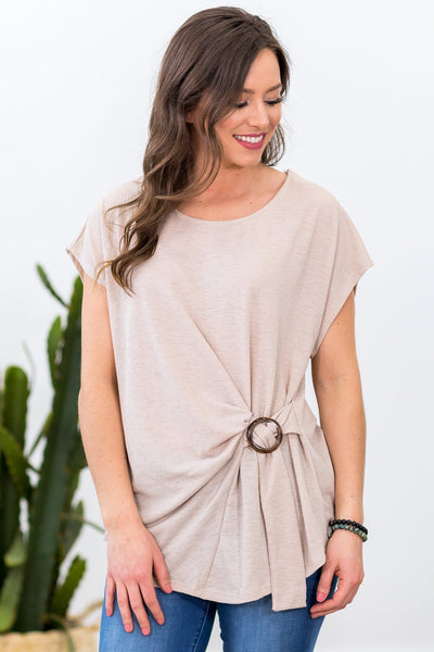 Today is a New Day Short Sleeve Knot Accent Top in Oatmeal - Filly Flair