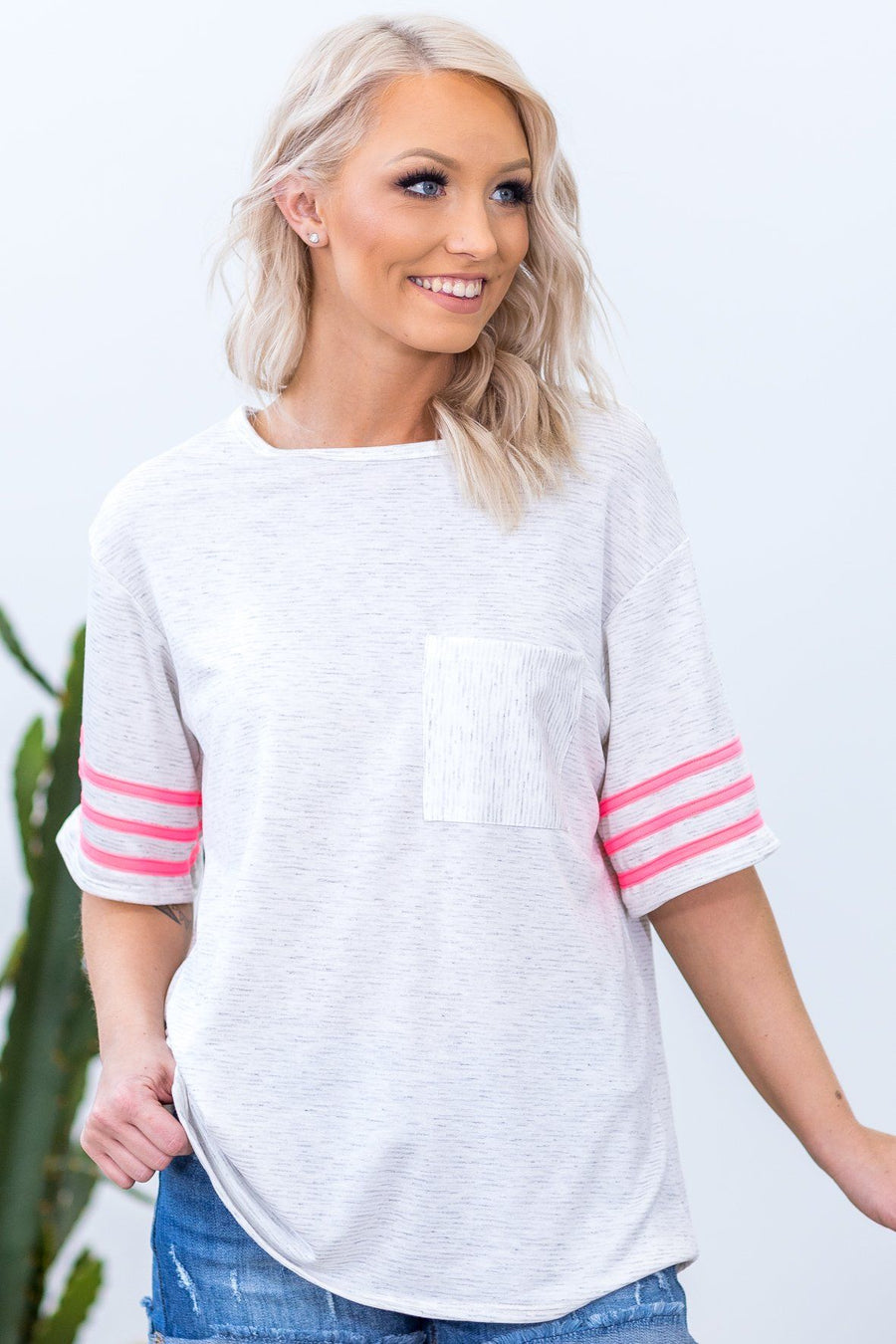 b5452a46e4 Over You Short Neon Pink Stripe Sleeve Chest Pocket Top in Heather Grey