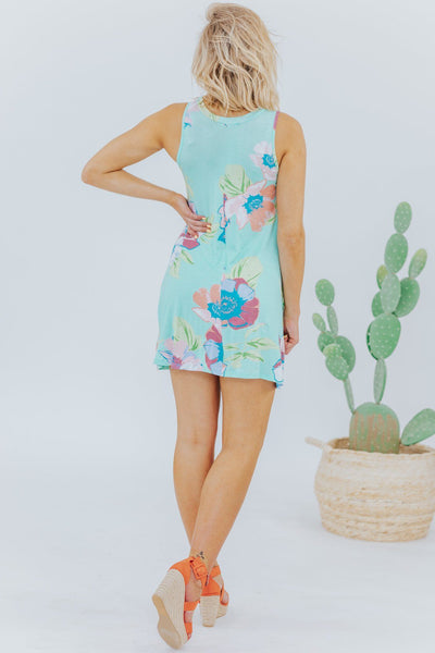 Vacation Ready Floral Dress In Mint - Filly Flair